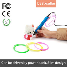 Slender plastic DIY 3D printing pen with ABS filament