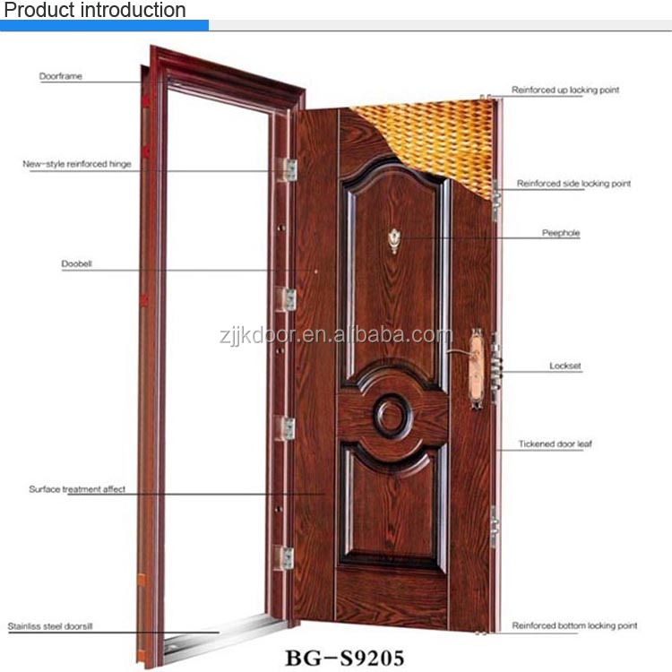 Jk s9206 residential luxury exterior security door steel for Residential main door design