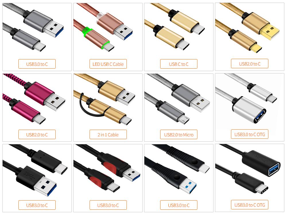 Pvc プラスチックチェック R 安全 USB C タイプ Usb 3.0 ケーブル USB A C 2 メートル