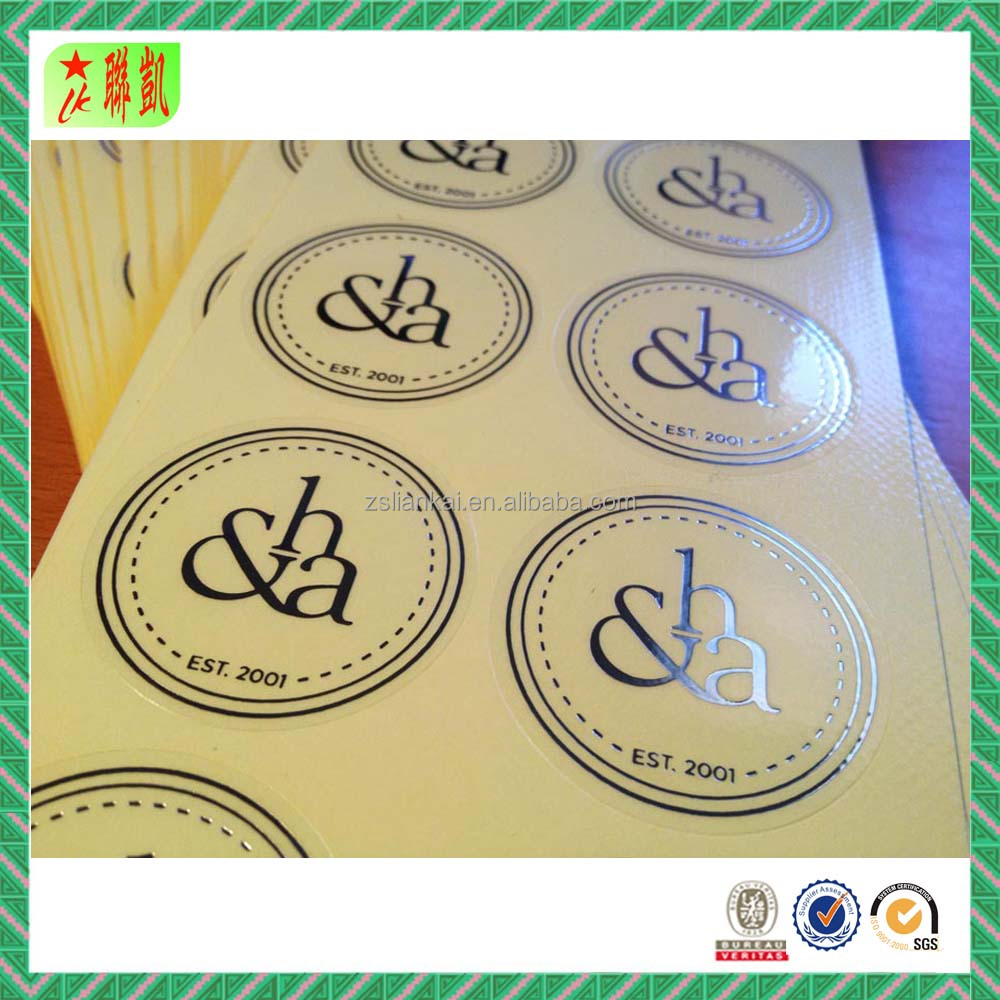 Custom Clear Self Adhesive Silver Foil Sticker Label