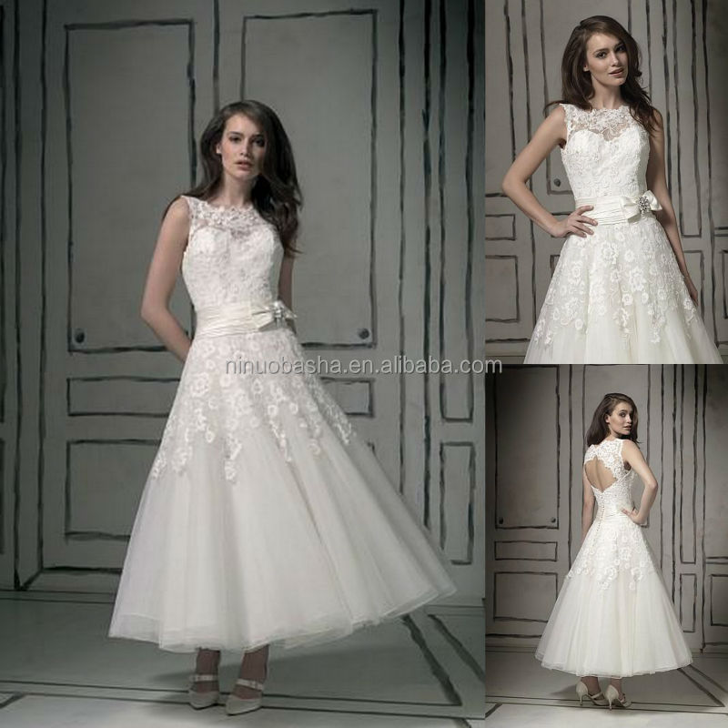 Top Quality 2014 Short Ball Gown Wedding Dress Jewel Neck Tea Length