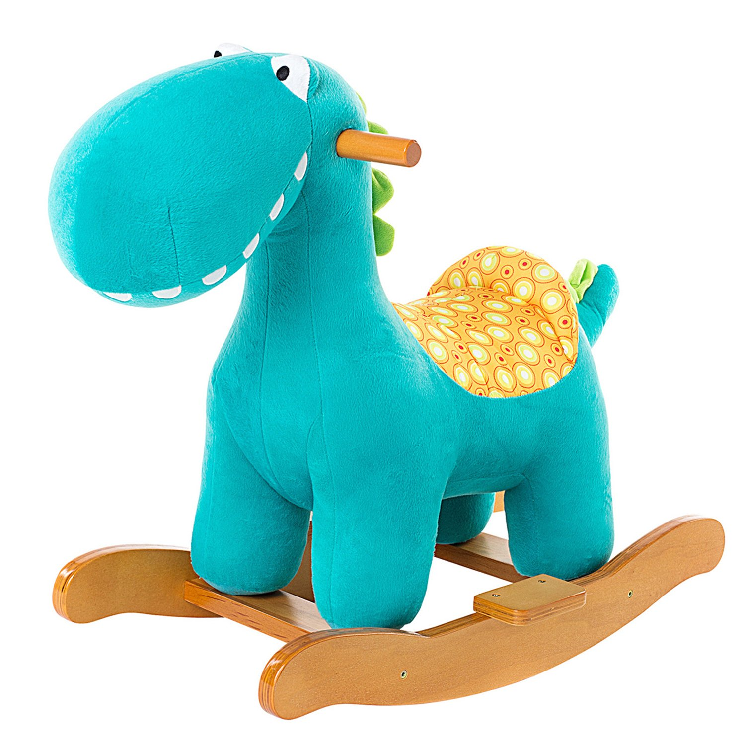 Labebe Child Rocking Horse Toy, Stuffed Animal Rocker Toy, Blue Dinosaur Rocker for Kid 1-3 Years, Wooden Rocking Horse Plush/Outdoor Rocking Horse/Rocker/Animal Ride/Child Rocking Toy/Dragon Rocker