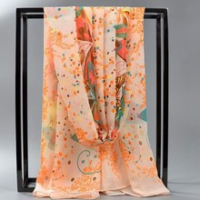 Comfortable Pretty women print wholesale DIGITAL PRINT SQUARE SATIN chiffion big long silk malaysian scarf 2017