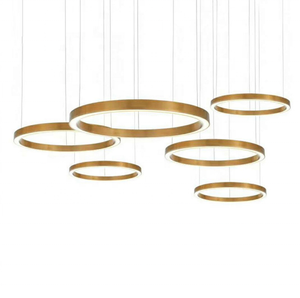 L4u 2019 Promotion Hot-sale Contemporary Gold Stainless Steel Circular Ring Hanging Light Round LED Pendant Chandelier Lamp