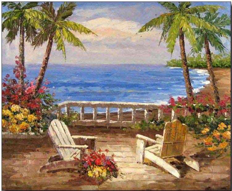 Tropical Sea View Residence oil painting