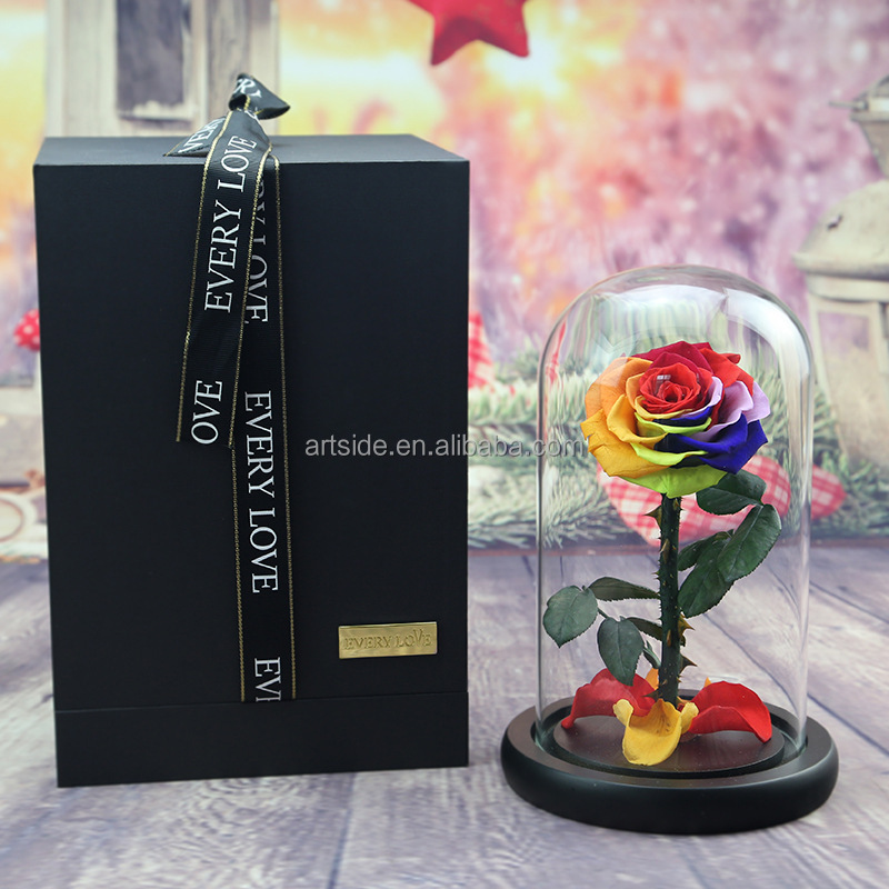 Long Life Rainbow Rose With Stem Preserved Fresh <strong>Flower</strong> In Glass Tubes/Dome