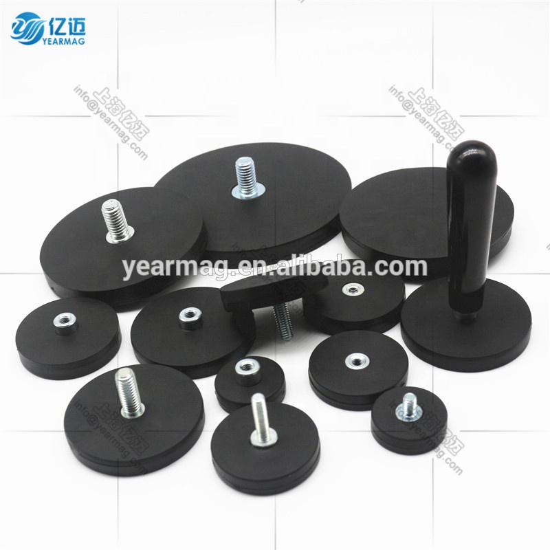 Best Selling D66mm Neodymium Rubber Magnets 20kg Silicone Coated Round Base Magnet with Axially Threaded Screw Handles