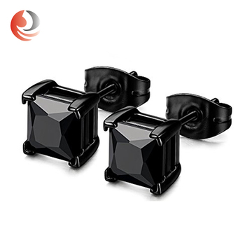 Square Cubic Zirconia For Men Women Black Diamond Stud Earrings