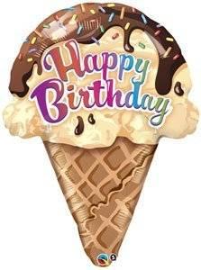 "Single Source Party Supplies - 27"" Ice Cream Cone Birthday Shape Mylar Foil Balloon"