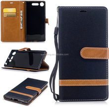 Jeans wallet case pouch bag for Sony Xperia XZ1, Credit card stand case for Sony Xperia XZ1 Compact