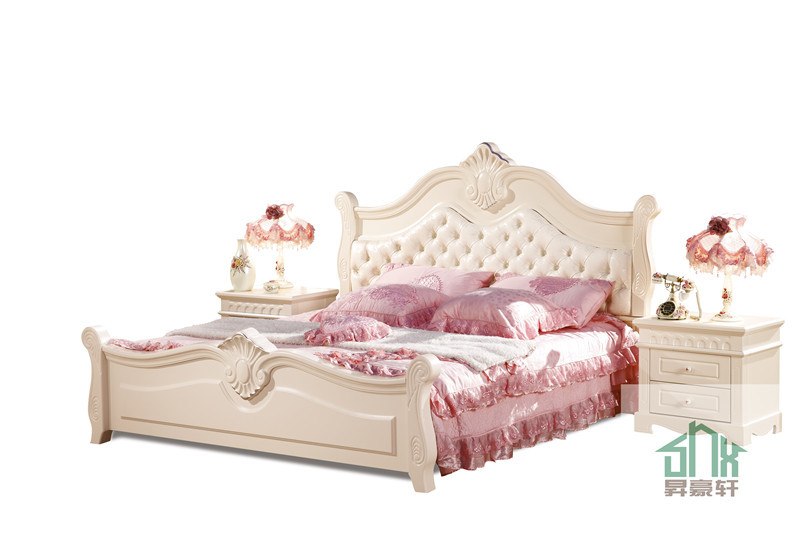 Shx ha 907 solid wood double bed designs with box white for Latest double bed designs with box