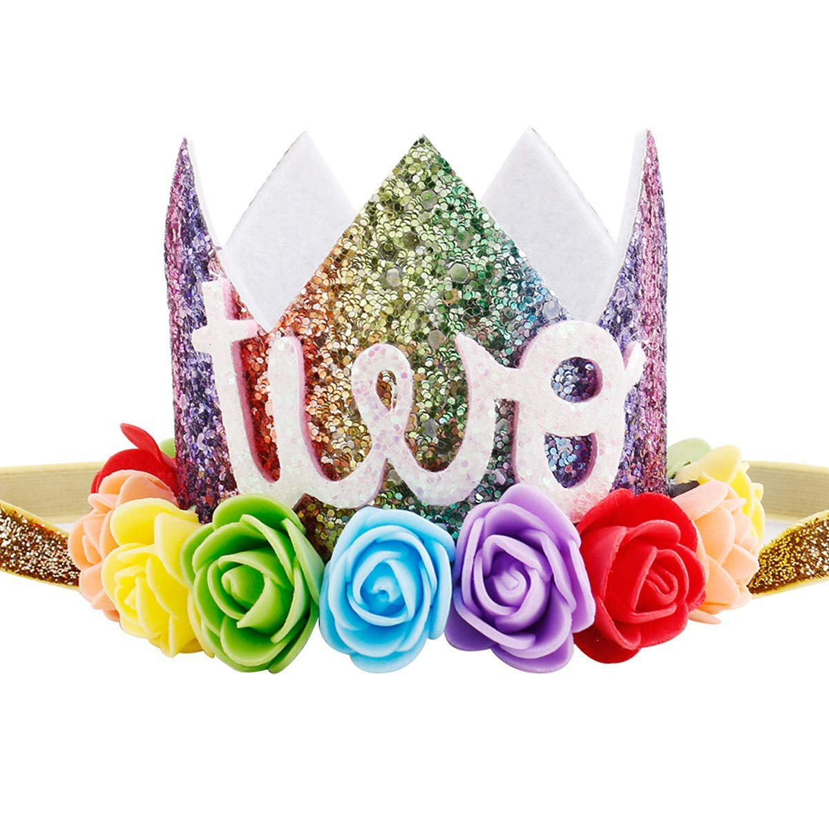 ec08d2bda8c Get Quotations · Maticr Baby Girl Glitter 1 2 3 First Birthday Rainbow Flower  Crown Hat Floral Tiara Headband