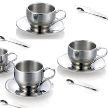 Hot jual stainless steel reusable eco kustom teh dan kopi cangkir dan piring set