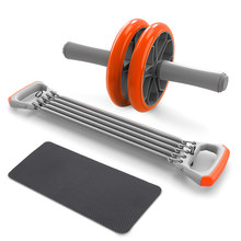 Фитнес-оборудование 3-в-1 само-сборка тяга груди, тренажер пуш-ап ручки живота роликовые колеса руки экспандер тяга бар вес(China)