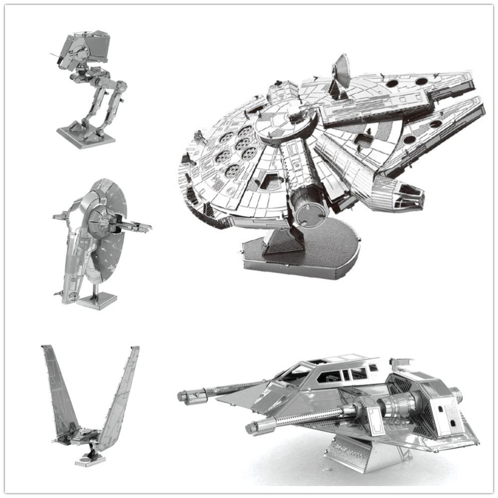 3D Assembling Metal Model Star Wars Metal Earth Millennium Falcon XWing Destroyer Droid NANO Puzzles DIY
