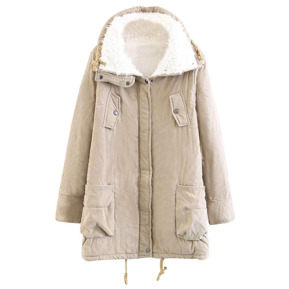 Amiley Parkas Women Winter,Clearance Winter Women Warm Full Zip Button Jacket Faux Fur Thicken Coat Parka Outwear