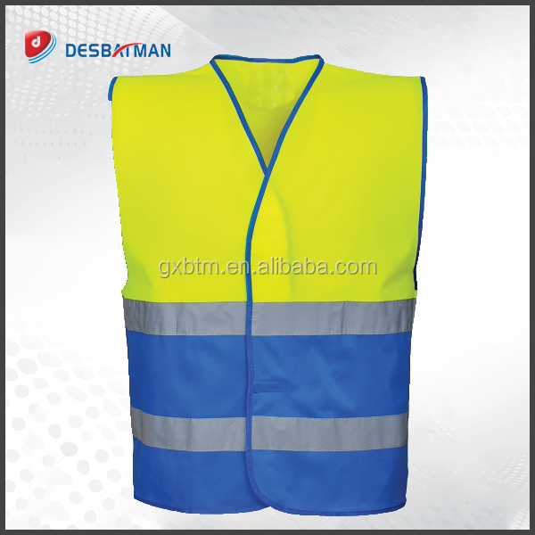 Brightly blue Color Industrial childrens High Visibility Mesh Reflective Workplace Safety Vest