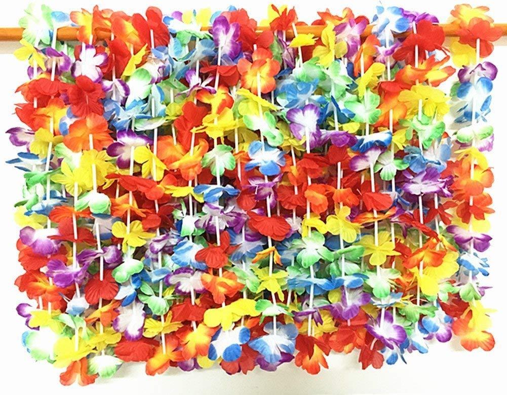 36 Counts / 3 Dozen 39'' Silk Hawaiian Leis Necklace Tropical Hawaiian Luau Flower Lei Party Favors Hula Party Leis Necklaces Floral Leis Luau Party (36pcs Multicolor)
