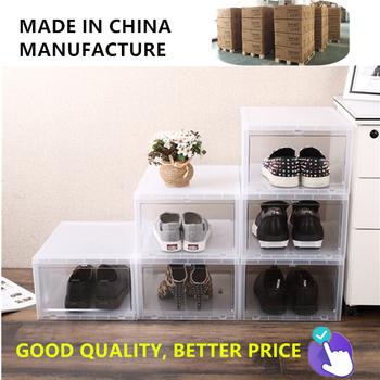 China Wholesale Clear Shoes Boxes Storage Plastic Drop Front Shoe Box