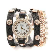 Handmade 3 rope leather wrap golden alloy chain women crystal wrist watch