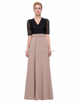 Floor Length Maxi Dress Sexy V-neck Black Lace Women Long Dresses Half  Sleeve Splicing High Split Party Dresses - Buy Dresses Women Summer fd61f3ed9