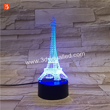 Effel Tower LED Night Light 3D Illusion Table Lighting Lamp