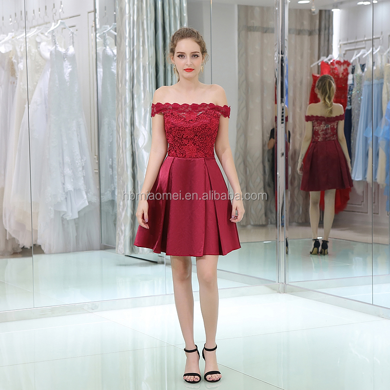 High Quality Plus Size Red Wine Satin Lace Short Evening Gown Dress ...