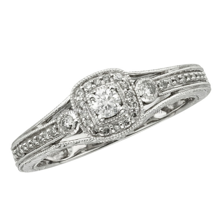 Scalloped Pave 1/4CT 10K white gold Diamond coin jewelry wedding rings under 2000 rings