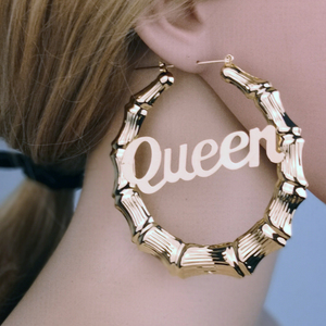 "90mm Round Bamboo Exaggerated Big Earrings Alphabet ""Queen"" Bamboo Earrings"