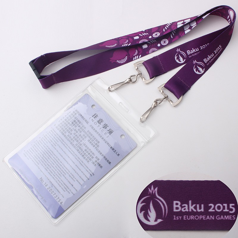 Flat polyester eco-friendly lanyards with logo customized neck accessories