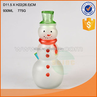 snowman shape glass jar / new style glass candy jar