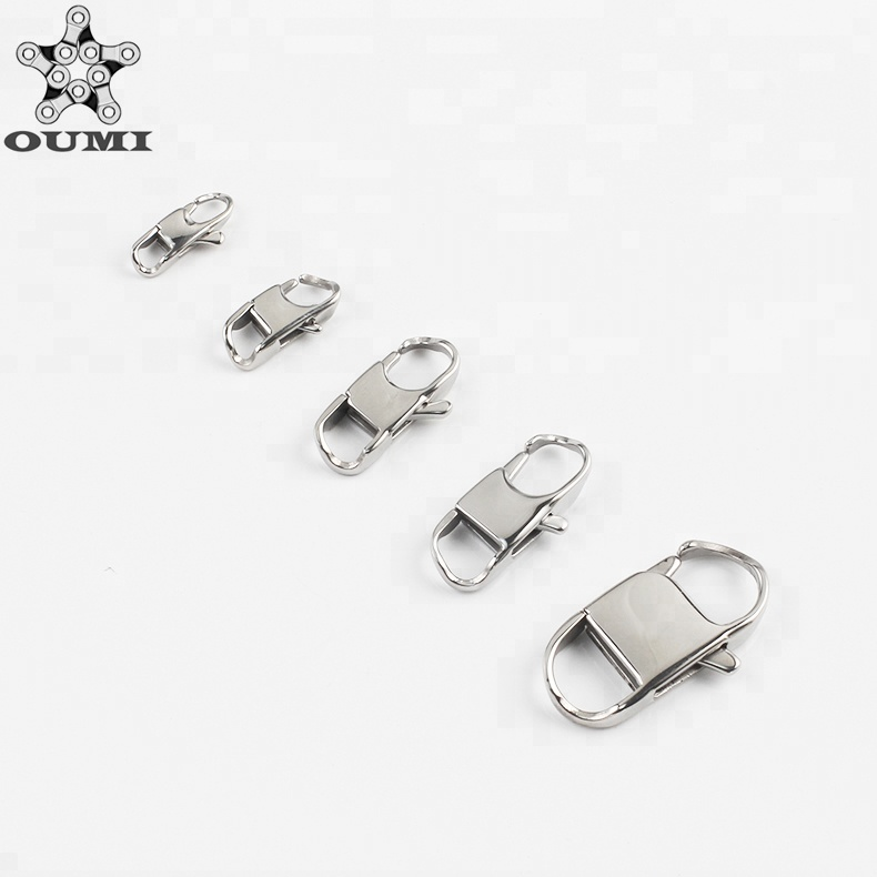 Wholesale custom metal button stainless steel snap hook 21mm 18k gold lobster clasp jewelry findings