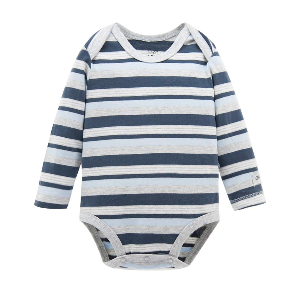 OEM Service O-neck Long Sleeve Stripe Organic Cotton Baby Winter Bodysuit For Boy Clothes