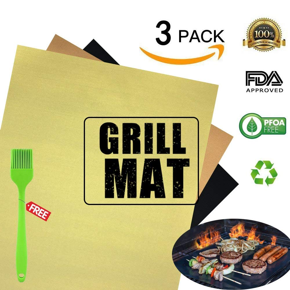 Copper BBQ Grill and Bake Mat Set of 3,100%Non-stick BBQ Grill & Baking Mats - FDA-Approved, PFOA Free,Reusable, Easy to Clean - Teflon Fiber Grill Roast Sheets Gas, Charcoal, Electric Grill - 40 x 3