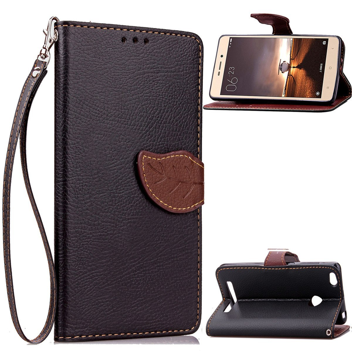 Xiaomi Redmi 3s Case,Gift_Source [Kickstand] [Leaf Style] Magnetic Snap Case Premium Wallet Case Built-in Card Slots Folio Flip Case Cover With Wrist Strap for Xiaomi Redmi 3S [Black]