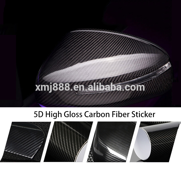 Super Glossy Black Car Wrap Carbon Fiber car cover Vinyl 5D