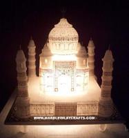 Marble Handmade Taj Mahal Replica For Home Decoration & Light ...