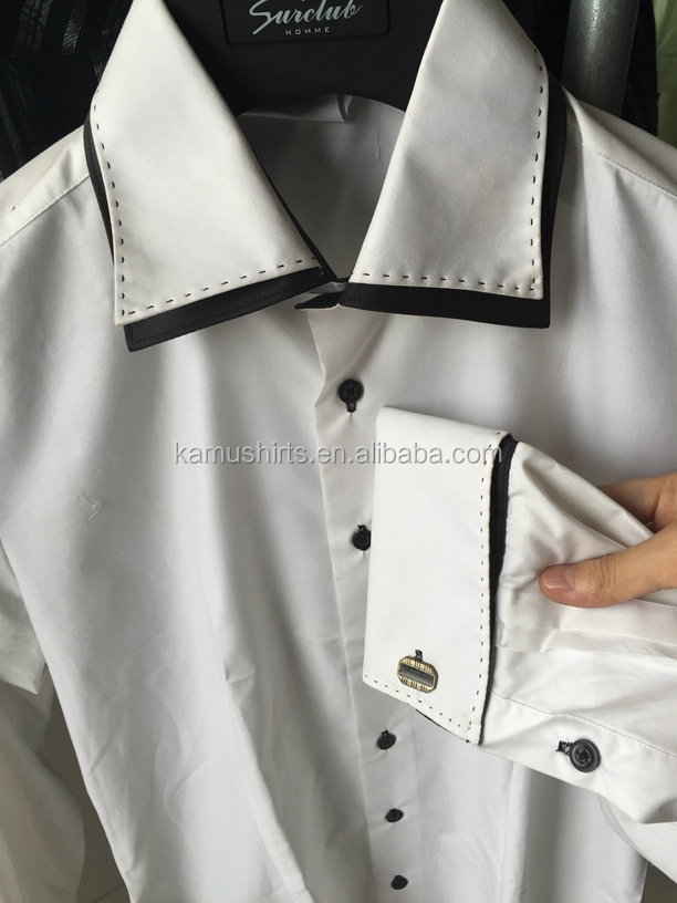 Mens Cutaway Collar Dress Shirt White French Cuff Shirts