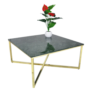 Square Designs Modern Furniture Coffee Table with India Green Natural Marble