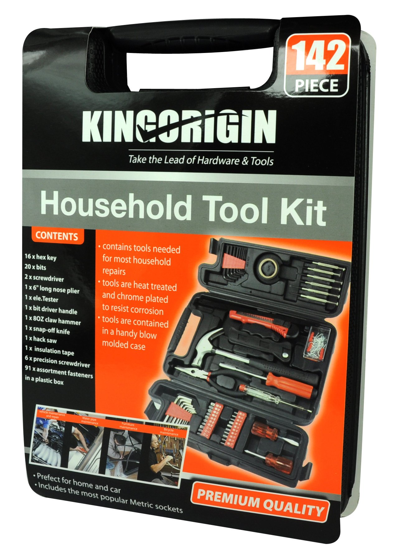 Kingorigin 142 Piece Professional Multi Tool Kit Home Repair General Household For Maintenance With