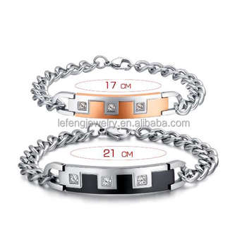 Metal Chunky Diamond His And Her Bracelet Relationship Bracelets For Him