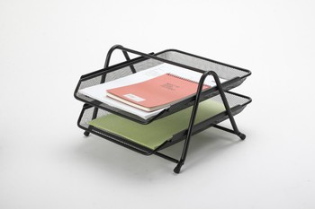 b82002a office stationery metal desk organizer iron mesh document tray 2 levels stationery product - Desk Organizer Tray