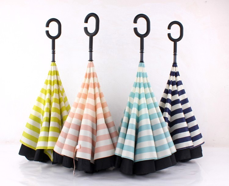 23b37d4920f9 Navy Stripe Inverted Umbrellas C-shape J-shape Handle Waterproof Double  Layer Reverse Car Umbrella Paraguas Rain Umbrella - us613