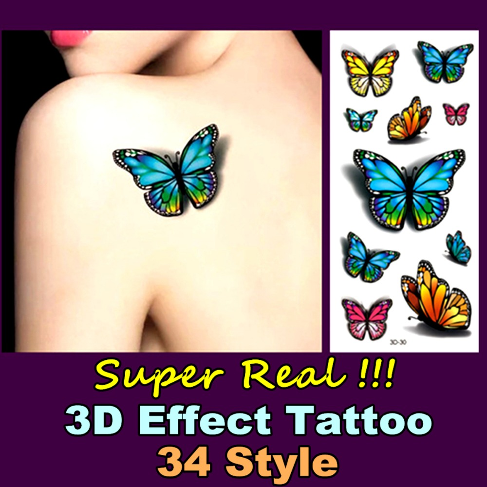 Real 3d Temporary Body Art Flash Tattoo Stickers 19 9cm Summer Beach 34 Style Waterproof Tatto