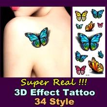 Lifelike 3D Tattoo 20 Types Spider Rose Butterfly Make Up Sticker 19*9cm Waterproof Summer Beach Party Temporary Body Art