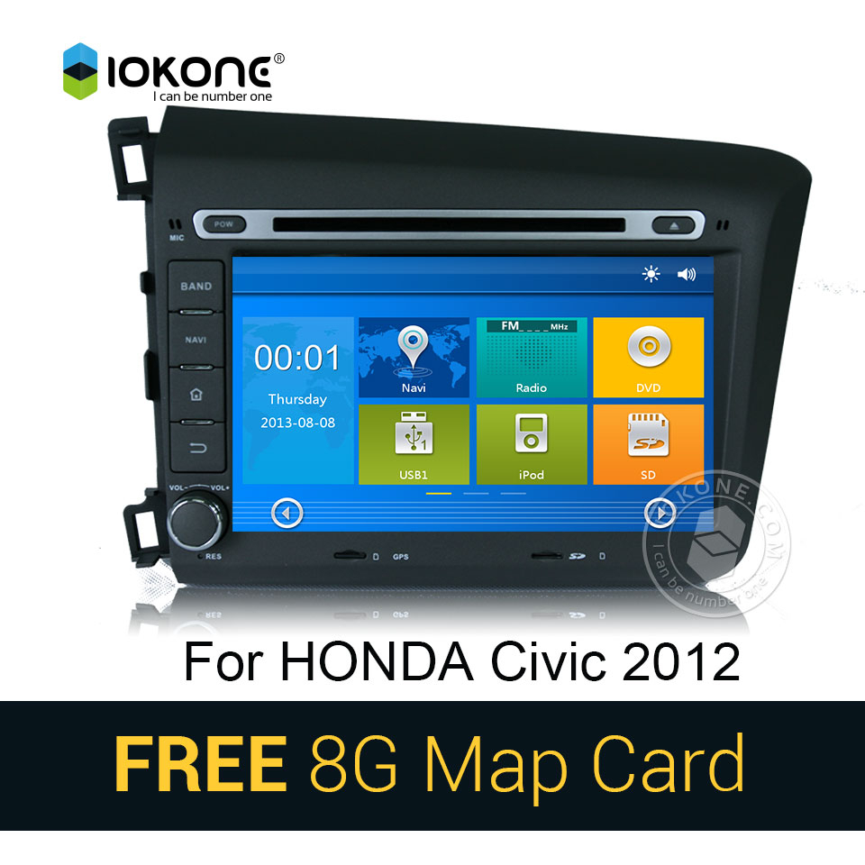 Iokone Car video Player with GPS Bluetooth For Honda Civic 12-13