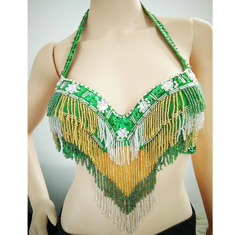2019 Hot Sale Arab <strong>Tribal</strong> Performance Halter Sequin Bead Tassels <strong>Belly</strong> <strong>Dance</strong> Bra Top