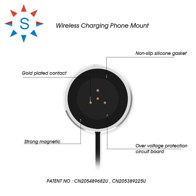 Wireless Mobile Phone Charger Holder For Car on Table on Anyplace Patented Product