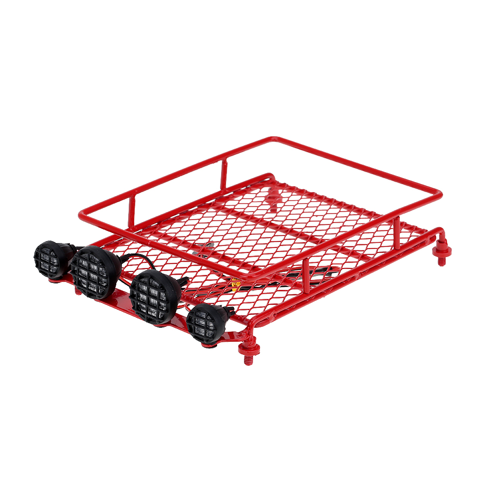 Red RC 1:10 Roof Crawler Luggage Rack Tray LED Light Kit for RC Toy Rock Crawler Car Truck