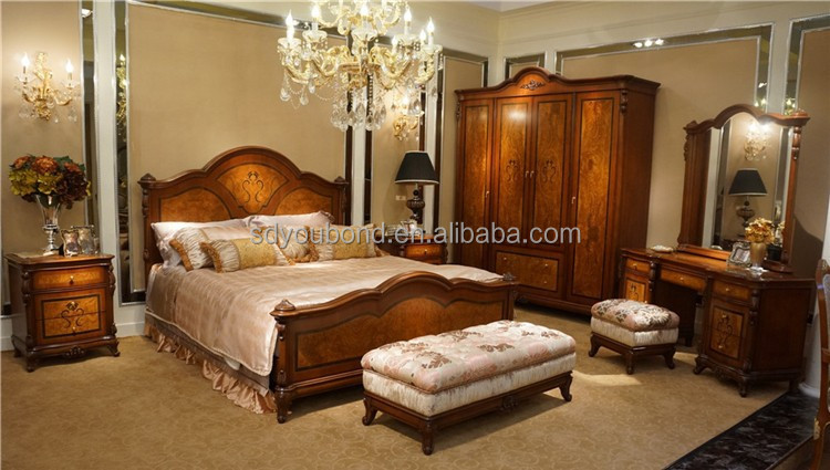 0051 European Classic Furniture Wooden Carved King Size